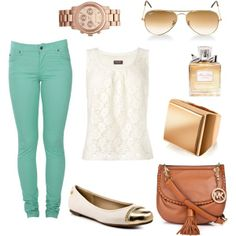 Mint green skinny jeans w/ lace top. Flats and brown bag. And I guess watches are coming back in style?