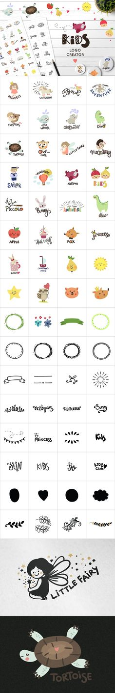 Logo Creator for #kids contains 90+ cute design elements and you can make unique #logo #designs! ( #branding #webdesign #vector #mascot inspiration #fashion #outfit #photography )