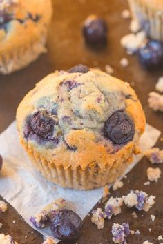 Healthy Flourless Blueberry Breakfast Muffins made with no butter, oil, flour or sugar! Paleo, vegan, gluten free and refined sugar free!