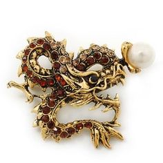 Classic Crystal Chinese Dragon Brooch With Pearl In Burn Gold Metal (Smoke Topaz/ Light Citrine) - 50mm Width - http://www.wonderfulworldofjewelry.com/jewelry/brooches-pins/classic-crystal-chinese-dragon-brooch-with-pearl-in-burn-gold-metal-smoke-topaz-light-citrine-50mm-width-couk/ - Your First Choice for Jewelry and Jewellery Accessories