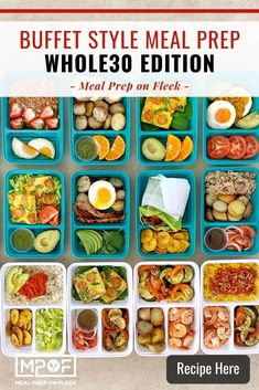 Buffet Style Meal Prepping: Whole30 - Meal Prep on Fleek™ Whole 30 Dessert, Whole 30 Snacks, Whole 30 Breakfast, Whole 30 Recipes, Lunch Recipes, Healthy Dinner Recipes, Breakfast Recipes, Healthy Meals, Keto Recipes