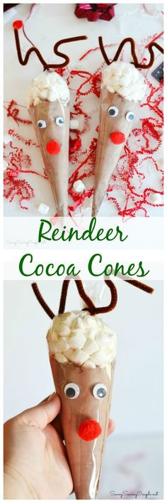 These Reindeer Cocoa Cones are super easy to make for the holiday season. They would make great homemade gifts. you can gift it with a personalized mug for a sentimental, thoughtful reindeer gift.