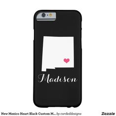 New Mexico Heart Black Custom Monogram Barely There iPhone 6 Case