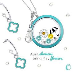 April showers bring May flowers!  What a cute theme for this Origami Owl Living Locket and matching earrings duo!  http://loveablelockets.com - Kayla Scully - Mentor #14951 - http://kaylascully.origamiowl.com