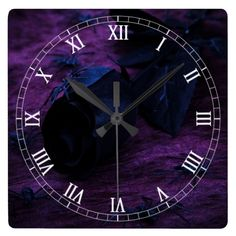 Black Rose Square Roman Numerals Clock  Halloween decoration for the home.  http://www.zazzle.com/black_rose_square_roman_numerals_clock-256762044672130951?rf=238271513374472230  #halloween  #halloweendecoration