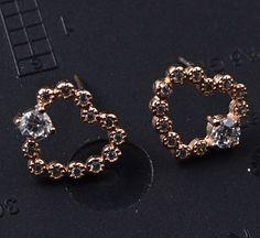 Guarantee Plain 925 Sterling Silver , CZ , Cubic  Earrings, 1.5 g, EA51712
