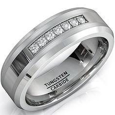 14k White Gold Princess-cut Diamond Men's Wedding Band Ring (1/2 cttw, I-J, I1-I2), Size 8