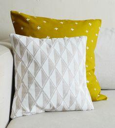 White Diamond Linen Pillow 13 x 13 in by cottonandflaxshop