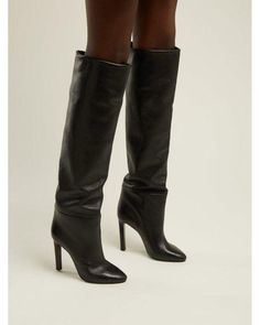 2b35bf62f93 Saint Laurent - Black Kate Knee High Leather Boots - Lyst Thigh High Boots  Heels