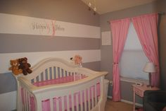 Project Nursery - Grey and White Striped Baby Nursery Wall