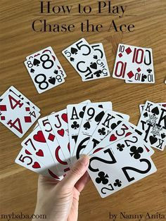 Learn how to play chase the ace - one of the easiest card games out there. Chase the ace is one of the easiest card games to learn. Even young children can play this game. Its a great way to pass the time when waiting around. Math Card Games, Family Card Games, Card Games For Kids, Playing Card Games, Dice Games, Activity Games, Kids Cards, Games With Cards, Boys Go Games