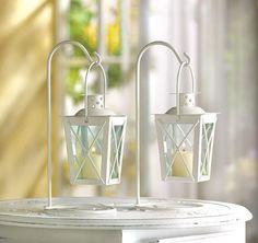 White Railroad Candle Lanterns