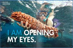 Flipsnack double page layout design #magazine layout design | #underwater #photography Magazine Design Inspiration, Magazine Layout Design, Magazine Layouts, Brochure Examples, Brochure Design, 7 Continents, Yearbook Ideas, Magazine Spreads, Open My Eyes