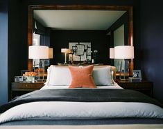 Midcentury Traditional Urban Bedroom: A large mirror hung behind a bed flanked by transparent lamps.