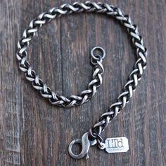 Men's 5mm Silver Wheat Chain Bracelet Oxidized Sterling Silver, Sterling Silver Chains, Silver Bracelets, Bracelets For Men, Silver Chain For Men, Work Hardening, Leather Jewelry, Jewelry Making, Detail