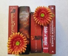 red books, harry potter, book stack