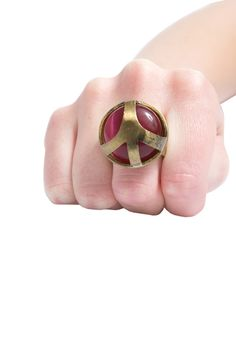 Low Luv x Erin Wasson Peace Cage Ring in Red Cat Eye Stone