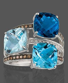 Le Vian 14k White Gold Ring, Blue Topaz (9-3/8 ct. t.w.) and Diamond (1/3 ct. t.w.) - Rings - Jewelry & Watches - Macy's