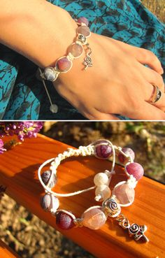 Yoga healing bracelet with natural stone purple by ThingsFromShela