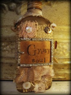 """She's got a gypsy soul to blame and she was born for leavin'"". Sometimes I wonder if it's a blessing or a curse. Bottle Art, Bottle Crafts, Diy Bottle, Bottles And Jars, Glass Bottles, Magic Bottles, Gypsy Wagon, Gypsy Soul, Gypsy Life"