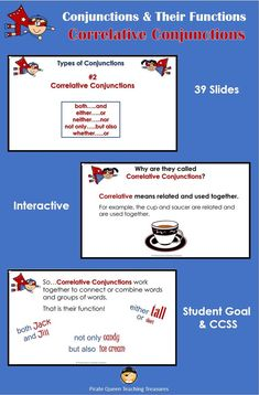 Use this interactive slideshow to teach your students the five pairs of Correlative Conjunctions: both/and, either/or, neither/nor, not only/but also, whether/or. Student Goals, Student Work, Fall Cleaning, Teaching Grammar, Being Used, Sentences, Connection, Language, Writing