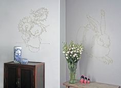 """Nails tacked to wall and """"dots"""" connected by string. I want to try this!"""