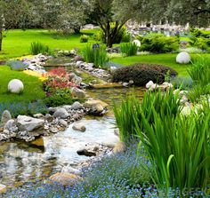pretty plantings and rock work River Rock Landscaping, Landscaping With Rocks, Front Yard Landscaping, Landscaping Ideas, Landscaping Melbourne, Backyard Water Feature, Ponds Backyard, Backyard Ideas, Pond Ideas