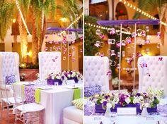 Central Florida wedding pros took the bold colors of purple and green, combined them with a modern style and baroque design elements, and created an absolutely gorgeous look! Beautiful photography by Wings of Glory at Mission Inn Resort