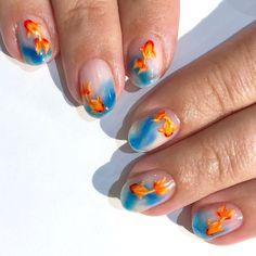 Almond Acrylic Nails, Cute Acrylic Nails, Almond Nails, Fish Nail Art, Fish Nails, Nail Art Poisson, Stylish Nails, Trendy Nails, Fancy Nails