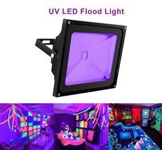 UV Light Black Light, HouLight High Power 50W Ultra Violet UV LED Flood Light IP65-Waterproof (85V-265V AC) for Blacklight Party Supplies, Neon Glow, Glow in the Dark, Fishing, Aquarium, Curing