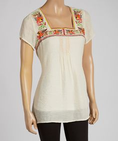 Cream & Red Embroidered Tunic   Daily deals for moms, babies and kids