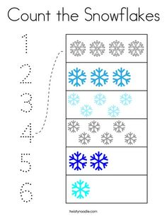 Count the Snowflakes Coloring Page - Twisty Noodle Numbers Preschool, Preschool At Home, Preschool Printables, Preschool Learning, In Kindergarten, Preschool Crafts, Teaching, Science Activities For Kids, Winter Activities