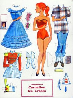 Paper Dolls-I loved paper dolls when I was a young girl.  My Aunt Caroline would always save me her McCall's magazines with paper dolls for me to play with when we went to her house.