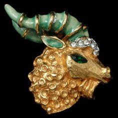 Ram's Head Pin Vintage Kenneth Jay Lane Brooch Enamel Rhinestones Figural | eBay