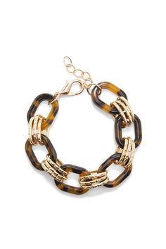 Tortoise link bracelet with 14k gold plated brass