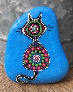 Handpainted Mandala Cat Feline Zen Rock Art Decor Gift Stone | eBay Dot Art Painting, Mandala Painting, Mandala Art, Stone Painting, Zen Rock, Rock Art, Rock Crafts, Arts And Crafts, Painted Rocks