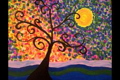did this one at Crazy Picasso- my first painting.  - acrylic abstract tree painting