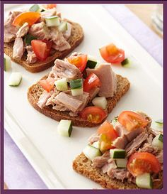 Snack:  Mini Tuna Sandwich  Carb: 3 slices Rubschlager 100 Percent Whole Grain Cocktail Rye Bread + 3 diced cherry tomatoes    Protein: 3-ounce pull-top can Chicken of the Sea Chunk Light Tuna in Water    Add 1/4 cup diced cucumbers -- a free food -- to keep the tuna moist.    NUTRITION INFORMATION    165 calories, 2 g total fat (0 g saturated fat), 40 mg cholesterol, 420 mg sodium, 17 g carb, 2 g fiber, 20 g protein