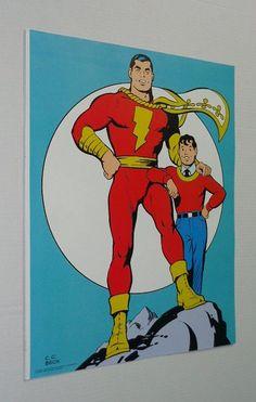 Rare vintage original 1970's DC Comics 20 by 15 1/2 Shazam Captain Marvel comic book superhero poster pin-up with art by CC Beck: Copyright 1974, Scarce