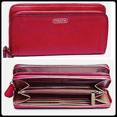 """Coach Leather Double Accord Zip Wallet. Ask me about installment payments,Accept ️️ or Buy it at Mercari. Beautiful and chic Coach Leather Double Zip Wristlet. Keep your cash and cards well organized for everyday use.Zip top closure. Exterior front zip pocket; back slip pocket. Interior center zip coin compartment; full length bill compartments; 12 credit card slots. Fabric lining. Silver hardware. Made of leather. Approx. 7 3/4"""" x 4 1/2"""". Approx. 6"""" wristlet drop. Coach Bags Wallets"""