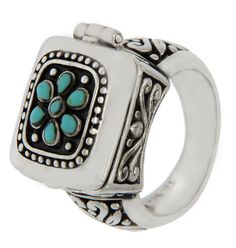 Solid Sterling Silver Flower Turquoise Locked Ring»R118