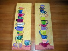 Each child designs and paints a cup - cut out and decoupaged to the background.