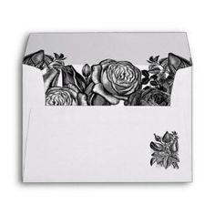 Black and White Roses Gothic Wedding Envelope Wedding Invitation Envelopes, Beautiful Wedding Invitations, Wedding Invitation Design, Invites, Lime Green Weddings, Black And White Roses, Custom Printed Envelopes, Gothic Wedding, Colored Envelopes