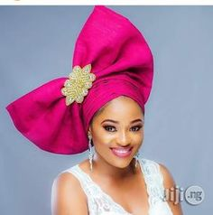 Élégant Take-a-Bow Pre-Tied Ready to Wear Bow Detailed Auto Gele African Head Scarf, African Hair Wrap, African Hats, African Head Wraps, African Attire, African Fashion, African Beauty, Fascinator Hats, Headpiece