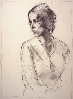 Portrait Study, 1973, charcoal on paper, 14 1/2 X 10 1/2 inches; collection of the artist