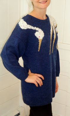 Vintage Baggy/Slouchy Swan Sweater Carducci by BosVintage on Etsy