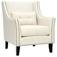 "Wood club chair with nailhead-trimmed upholstery and foam cushioning.Product: Chair   Construction Material: Linen and polyester blend upholstery, wood frame and foam cushion    Color: Beige and black    Features:  Pillow includedNon-marking feet  Bronze nailhead trim Removable cushions    Dimensions: 37"" H x 32"" W x 32"" D"