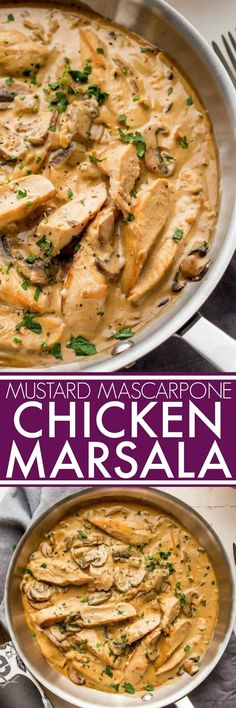 This chicken marsala recipe adds in dijon mustard & creamy mascarpone cheese. It's a rich dish that's easy to prepare but totally impressive.   platingsandpairings.com