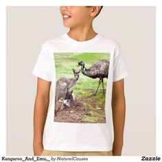 Kangaroo And Emu, Kids White T-shirt.