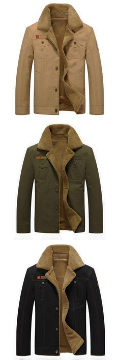 Material: 100%Cotton. Men's Thick Fleece Warm Turn-down Collar Solid Color Winter Outdoor Coat. Color: Khaki, Black, Army Green. Size: S-3XL.